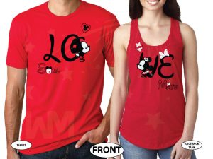 Soulmate Love Shirts Mickey Minnie Kiss Just Married Wedding Date married with mickey red tshirts