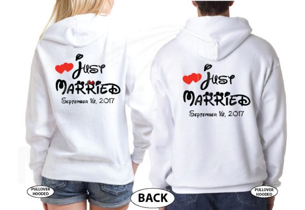 Soulmate Love Shirts Mickey Minnie Kiss Just Married Wedding Date married with mickey white hoodies