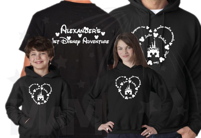 Disney Family Shirts, Mickey Head Outline With Your Names married with mickey black shirts