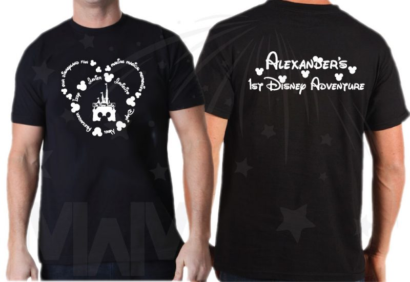 Disney Family Shirts, Mickey Head Outline With Your Names married with mickey black tshirt