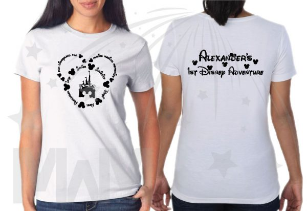 Disney Family Shirts, Mickey Head Outline With Your Names married with mickey white tshirts