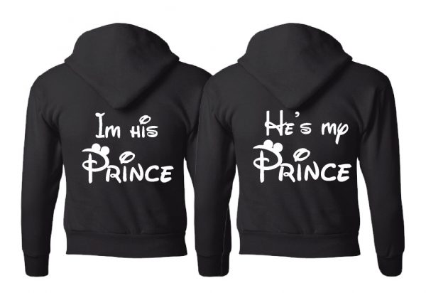 LGBT Gay Matching Mr Mickey Mouse Shirts I'm His Prince He's My Prince married with mikey mwm black hoodies