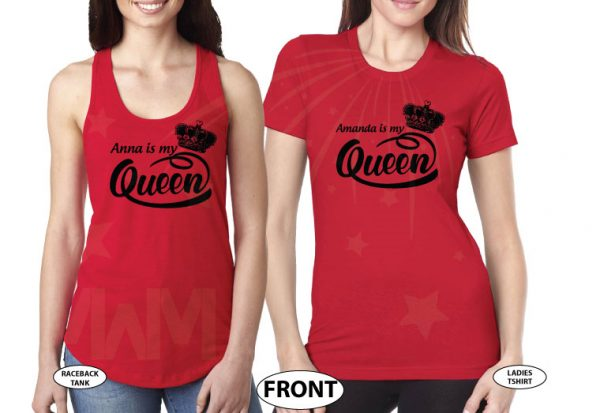 LGBT Lesbian Shirts, Anna is my Queen, Amanda is my Queen married with mickey red tshirts