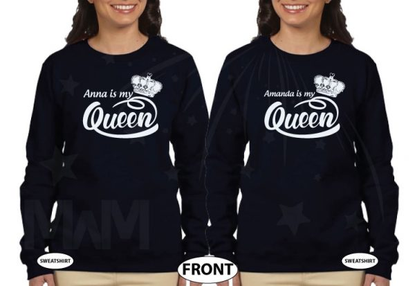 LGBT Lesbian Shirts, Anna is my Queen, Amanda is my Queen married with mickey black hoodies