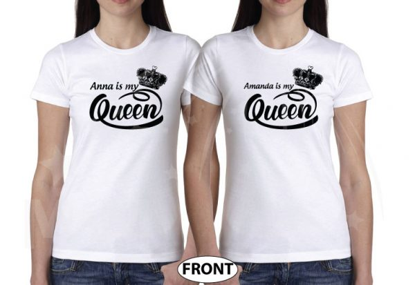 LGBT Lesbian Shirts, Anna is my Queen, Amanda is my Queen married with mickey white tshirts