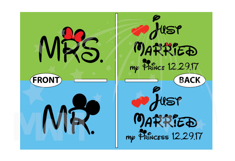 500076 Just Married My Princess, My Prince Matching Shirts For Mrs and Mr With Special Day, Wedding Date married with mickey mwm