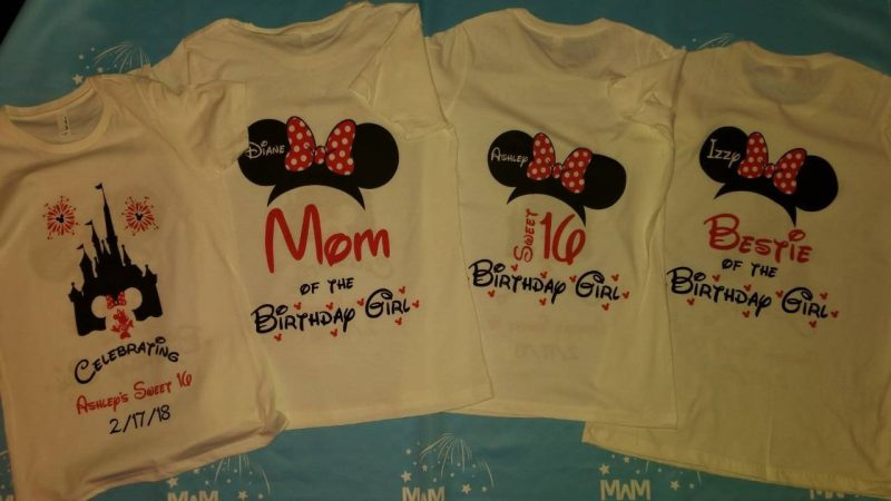 Birthday Shirts for Friends and Family Members, Birthday Girl (Boy) Sweet 16, Minnie Mouse Head With Polka Dots Bow, Mom of the Birthday Girl, Bestie of the Birthday Girl married with mickey mwm white tshirts