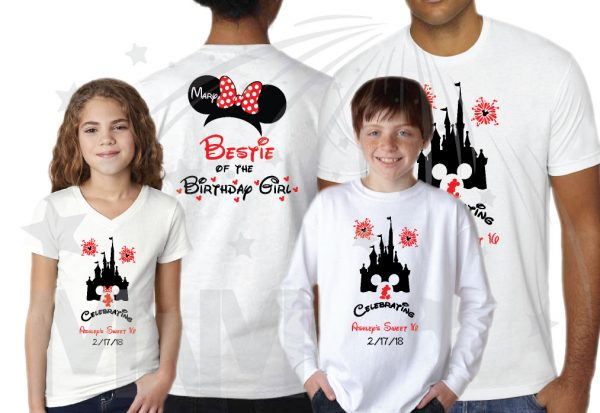Birthday Shirts for Friends and Family Members, Birthday Girl (Boy) Sweet 16, Minnie Mouse Head With Polka Dots Bow, Mom of the Birthday Girl, Bestie of the Birthday Girl white tshirts