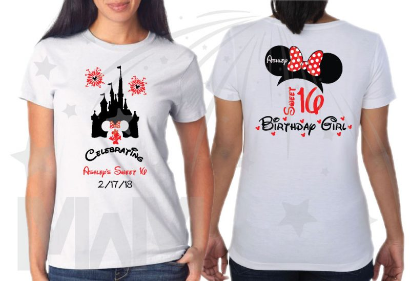 Birthday Shirts for Friends and Family Members, Birthday Girl (Boy) Sweet 16, Minnie Mouse Head With Polka Dots Bow, Mom of the Birthday Girl, Bestie of the Birthday Girl white tshirt