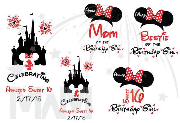 Birthday Shirts for Friends and Family Members, Birthday Girl (Boy) Sweet 16, Minnie Mouse Head With Polka Dots Bow, Mom of the Birthday Girl, Bestie of the Birthday Girl married with mickeya