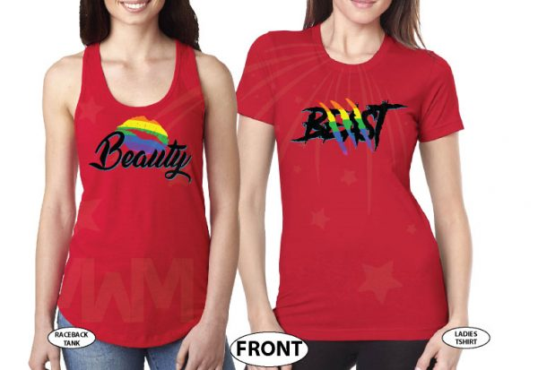 LGBT Lesbian Rainbow Design Beauty and Beast , Last Name and Wedding Date married with mickey red tees