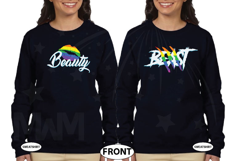 LGBT Lesbian Rainbow Design Beauty and Beast , Last Name and Wedding Date married with mickey black sweatshirts