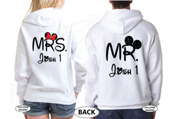 Wifey Hubby Mr and Mrs Matching Shirts married with mickey mwm white hoodies