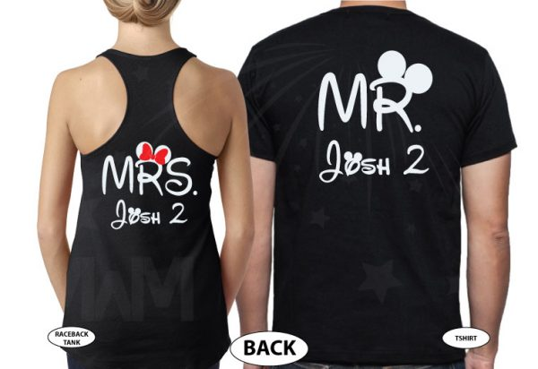 Future Wifey Future Hubby Mr and Mrs Matching Shirts married with mickey mwm black tank and tshirt