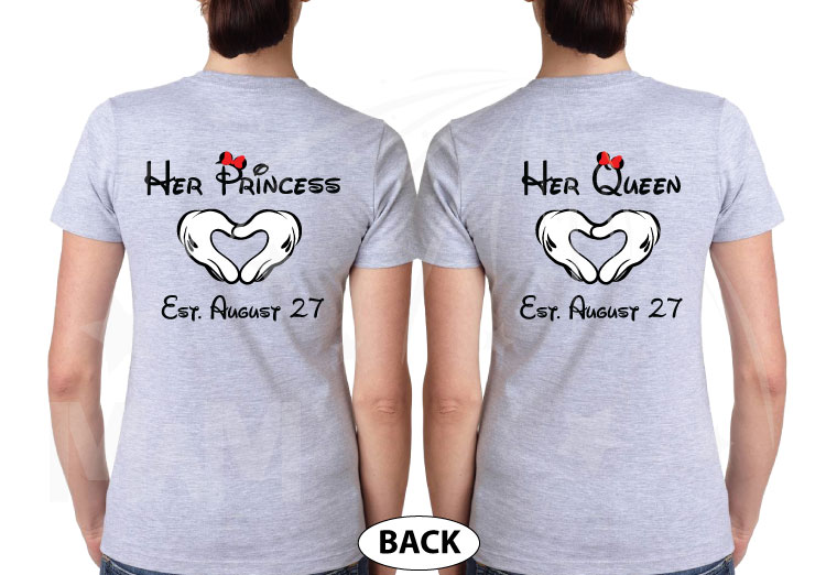 LGBT Lesbian Matching Shirts, I'm Hers She's Mine Rainbow Colored Mickey Pointing, Her Princess Her Queen Hands In Heart Shape married with mickey grey tshirts