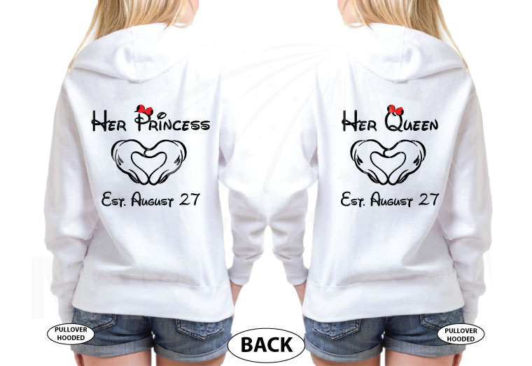 LGBT Lesbian Matching Shirts, I'm Hers She's Mine Rainbow Colored Mickey Pointing, Her Princess Her Queen Hands In Heart Shape married with mickey white sweaters