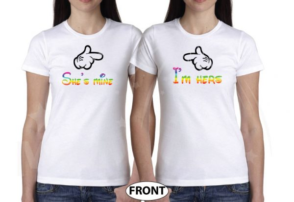 LGBT Lesbian Matching Shirts, I'm Hers She's Mine Rainbow Colored Mickey Pointing, Her Princess Her Queen Hands In Heart Shape married with mickey white tshirts