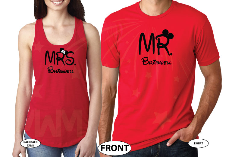 500412 Mr and Mrs Last Name Just Married Wedding Date Mickey Minnie Mouse Sitting Hugging on a Bench married with mickey red tshirts