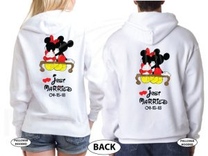 500412 Mr and Mrs Last Name Just Married Wedding Date Mickey Minnie Mouse Sitting Hugging on a Bench married with mickey white hoodies