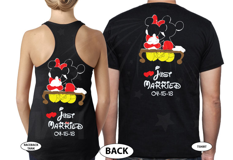 500412 Mr and Mrs Last Name Just Married Wedding Date Mickey Minnie Mouse Sitting Hugging on a Bench married with mickey black tees