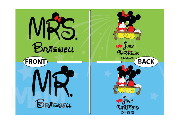500412 Mr and Mrs Last Name Just Married Wedding Date Mickey Minnie Mouse Sitting Hugging on a Bench married with mickey