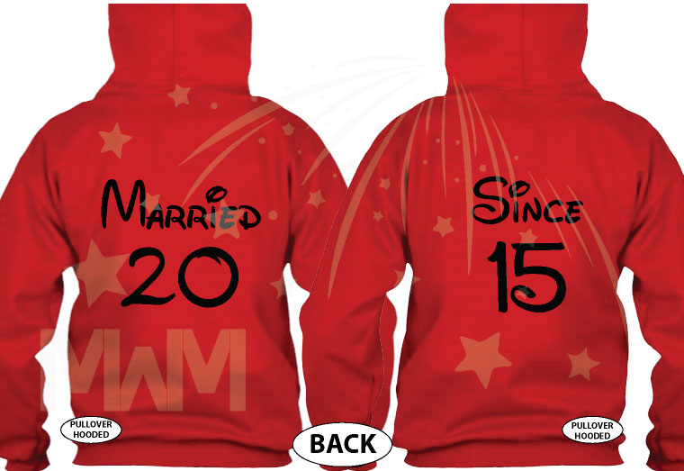 Her Prince, His Princess, Mickey Minnie Mouse Cute Kiss, Married Since 1993, Married With Mickey red hoodies