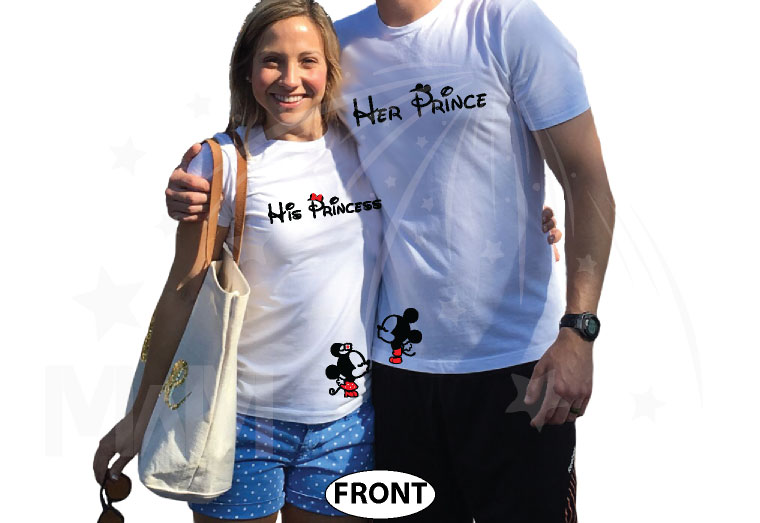 Her Prince, His Princess, Mickey Minnie Mouse Cute Kiss, Married Since 1993, Married With Mickey white tshirts