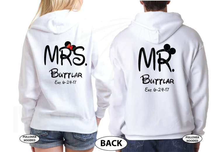 500204 Celebrating 1 year of Happily Ever After, Mr and Mrs Shirts Custom Last Name, Est. Wedding Date married with mickey MwM white hoodies