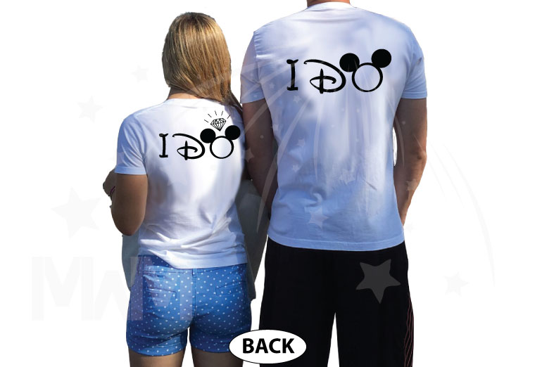 Bride to be, Groom to be, I Do Worl'd Cutest Matching Couple Shirts married with mickey mwm white tshirts