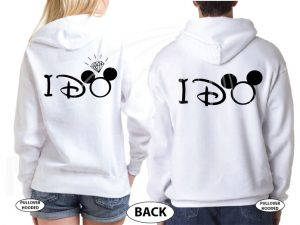 Bride to be, Groom to be, I Do Worl'd Cutest Matching Couple Shirts married with mickey mwm white sweaters