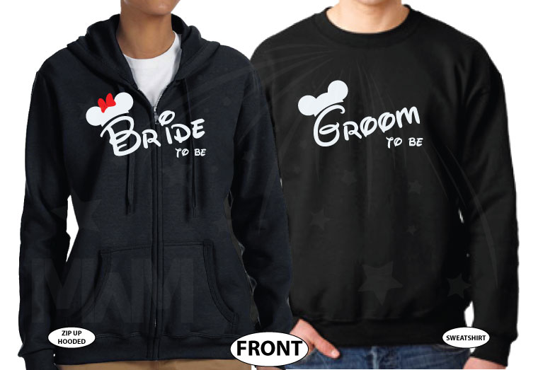 Bride to be, Groom to be, I Do Worl'd Cutest Matching Couple Shirts married with mickey mwm black sweaters