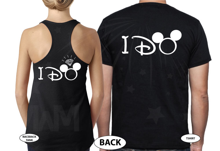 Bride to be, Groom to be, I Do Worl'd Cutest Matching Couple Shirts married with mickey mwm black tee and tank