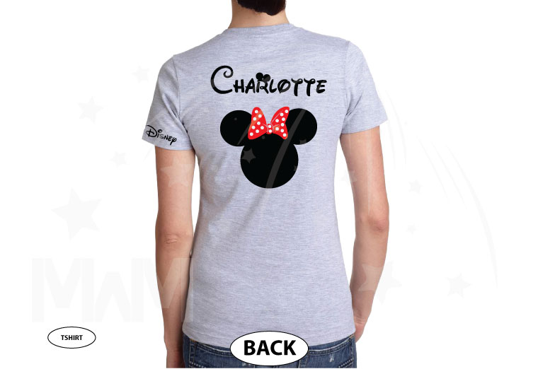 Disney Minnie Mouse Red Polka Dots With Custom Name, Cute Bow Shirt married with mickey grey tshirt