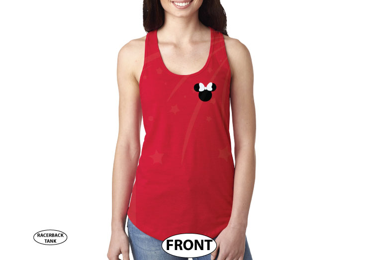 Disney Minnie Mouse Red Polka Dots With Custom Name, Cute Bow Shirt married with mickey red tank top