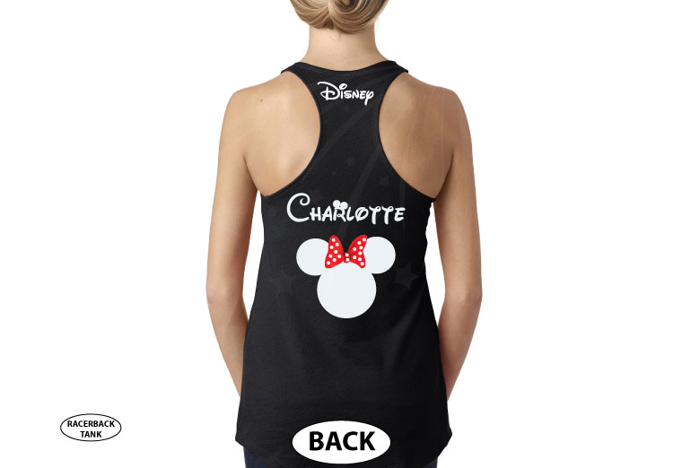 Disney Minnie Mouse Red Polka Dots With Custom Name, Cute Bow Shirt married with mickey black tank top