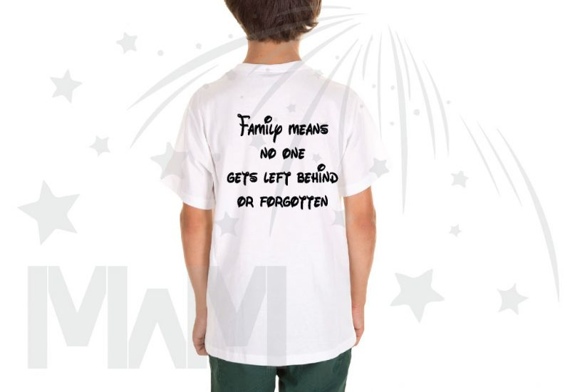 500426 Lilo Family means no one gets left behind or forgotten (500426) married with mickey white tshirt