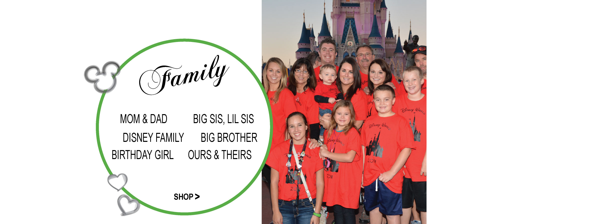 Disney Family Apparel Matching T Shirts standing in front of Disney Castle