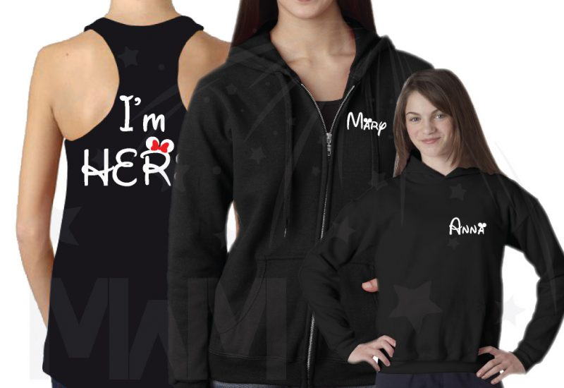 Matching LGBT Family Shirts, Lesbian Cute Parents I'm Hers She's Mine I'm Theirs (3 and more shirts) married with mickey mwm