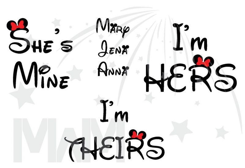 Disney Matching LGBT Family Shirts, Lesbian Cute Parents I'm Hers She's Mine I'm Theirs (3 and more shirts)