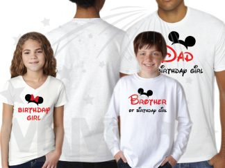 Matching Family Shirts For Birthday Party With Mickey Minnie Mouse Heads Mom Of Birthday Girl (Boy) Brother Of Birthday Girl (Boy) etc (get as many as you want) married with mickey mwm