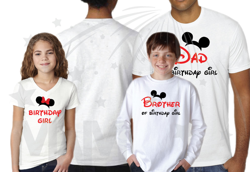 Matching Family Shirts For Birthday Party With Mickey Minnie Mouse Heads Mom Of Girl