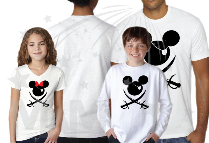 Family Pirate Matching Shirts With Eye Patch and Swords Front Design Mickey Mouse Pirate married with mickey mwm