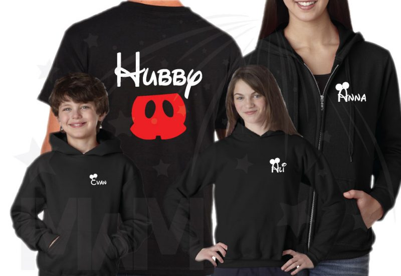 Family Disney Matching Sweatshirts, Hubby Wifey Big Bro Lil Bro Lil Sis with custom names on front (enter as many shirts as you need) Disney Mickey Pants Minnie Mouse Bow married with mickey mwm