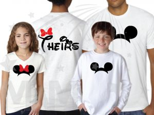 Family Shirts His Hers Theirs Minnie Mouse Cute Red Bow Mickey Mouse Head Pants married with mickey mwm