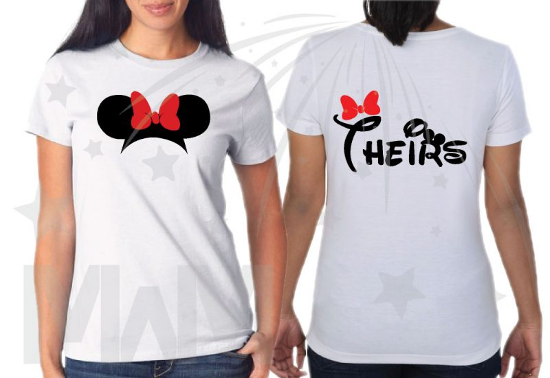 Family Matching Shirts His Hers Theirs Minnie Mouse Cute Red Bow Mickey Mouse Head Pants married with mickey mwm