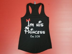Black Ladies Tank Top Im His Princess Est. 2011 Married With Mickey