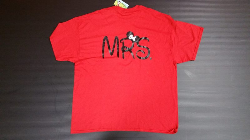 Red Tshirt Minnie Mouse Kiss Mrs Ears Married With Mickey