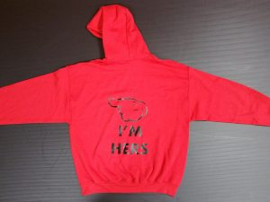 Red Pullover Hoodie Mickey Mouse Kiss Pointing Hand I'm Hers Married With Mickey