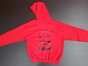 Red Pullover Hoodie Minnie Mouse Kiss Pointing Hand He's Mine Married With Mickey