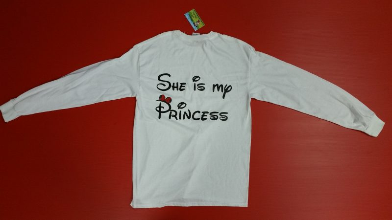 White Men's Cut Long Sleeve Tshirt She's My Princess LGBT Lesbian Minnie Mouse Red Bow Married With Mickey